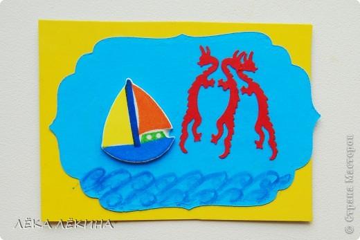 """Показать хочу вам творчество своего старшего сынишки (5,5. лет) - сегодня глядя на полученные мамой конвертики,тоже сидел - пыхтел...скрапил:) вот такие 2 у него получились... Первую он назвал """"Птички""""для Алиса.Ру, вторая """"Морские драконы""""для сынишки - Алеше Елены Поляковой:) фото 2"""
