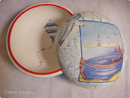 Здравствуйте,уважаемые мастерицы))) Было хорошее настроение, решила сделать шкатулку в морском стиле и зеркальце с принтом моих любимых цветов)И вот что получилось) фото 4