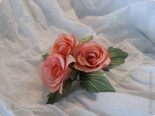 """Брошь"""" Букетик чайных роз"""" фото 2"""
