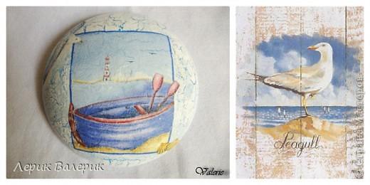 Здравствуйте,уважаемые мастерицы))) Было хорошее настроение, решила сделать шкатулку в морском стиле и зеркальце с принтом моих любимых цветов)И вот что получилось) фото 1