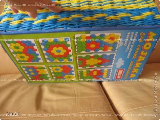 коробка из-под мозаики была мягкой и порвалась, решила сплести более прочную фото 2