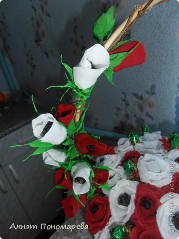 Этот букет я сделала маме на юбилей,здесь 20 красных роз, 19 белых, 6 красных бутонов, 5 белых бутонов и один зеленый не распустившийся бутончик, в итоге 51 розочка, надеюсь ей понравится. Идею стащила у пользоватьля yulcho, к сожалению не знаю настоящего имени, спасибо ей огромное и за идею и за ссылочки, которые она мне приготовила!! А теперь небольшая фотоссесия моего букета! Итак, общий вид! фото 3