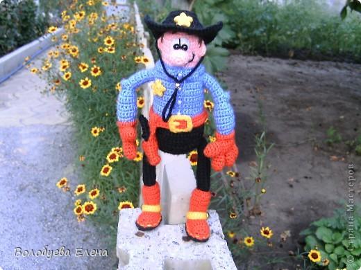 вот он мой ковбой-шериф! рост 23-25см, связан из палированного акрила. фото 1