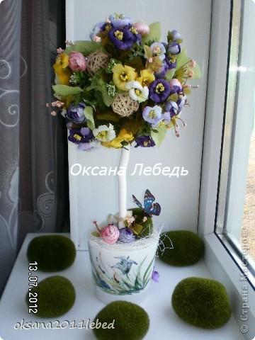 Ну, вот и снова я!!!! На этот раз совсем свеженькие работы, топиарии  в деревенском таком стиле с полевыми цветочками!!!! Итак начнем)))))))) фото 2