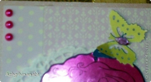 Обложка для паспорта сделана по скетчу предложеному челендж-блоком В плену идей. http://vplenuidei.blogspot.com/2012/06/1_24.html#more. и пропустила сроки. Показать очень хочется-смотрите. Дырокольные бабочки украшенные акриловыми камешками и полубусинами.  фото 5