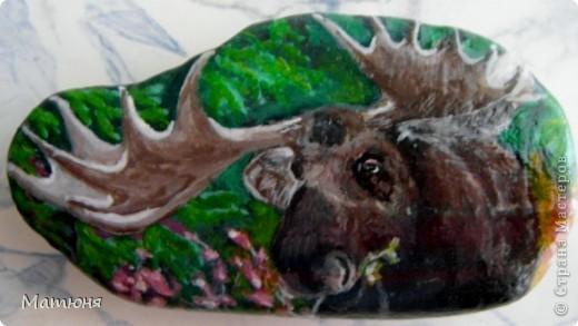 Четласский мишка - миниатюра на камне (сланец, размер 12х9 см) фото 5