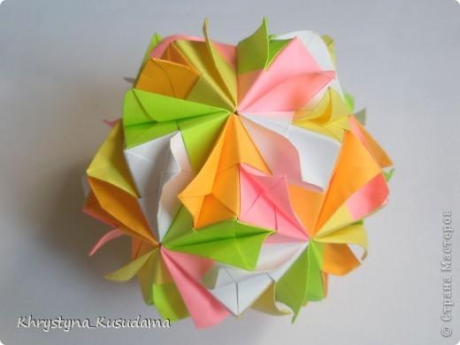 попали мне под руку вот эти цветные бумажки и я вспомнила о Brightly кусудаме от Kiyoko Ito фото 1