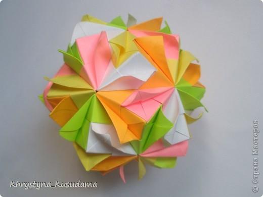 попали мне под руку вот эти цветные бумажки и я вспомнила о Brightly кусудаме от Kiyoko Ito фото 3
