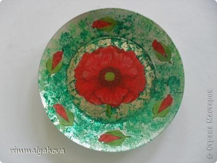 Мои первые тарелочки ( 2 работа). Материал- акриловые краски, паталь, салфетка, акриловый лак и акриловая краска аэрозольная. фото 2