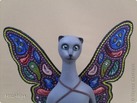 ещё одна киса) ну,кошка и её крылья думаю уже знакомы с МК),вот как всё выглядит в сборе) фото 2