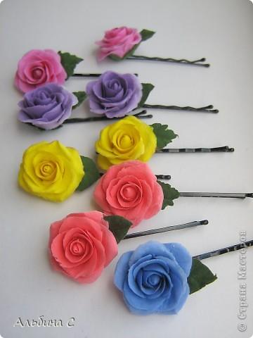 Розы на неведимках.Заказали на свадьбу для украшения волос девочек.Вот что получилось. фото 1