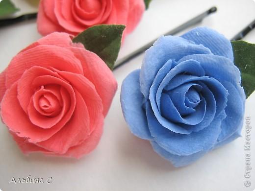 Розы на неведимках.Заказали на свадьбу для украшения волос девочек.Вот что получилось. фото 3