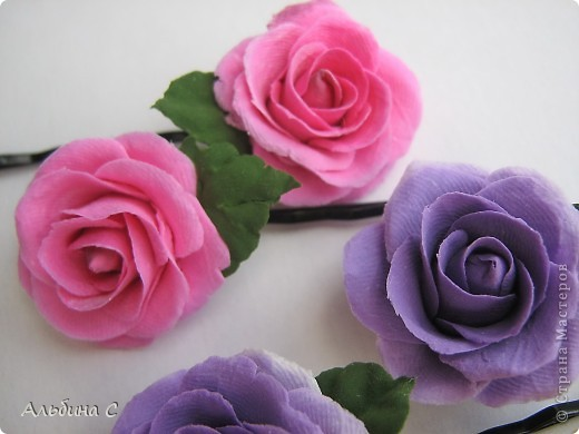 Розы на неведимках.Заказали на свадьбу для украшения волос девочек.Вот что получилось. фото 4