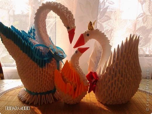 Лебеди из модулей оригами
