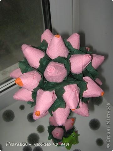 Мой первый топиарий из искусственных цветов)))  Помоему, получился))) фото 11