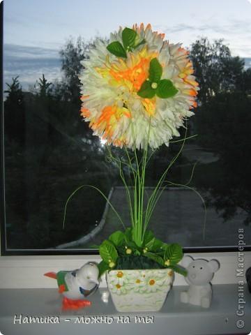 Мой первый топиарий из искусственных цветов)))  Помоему, получился))) фото 1