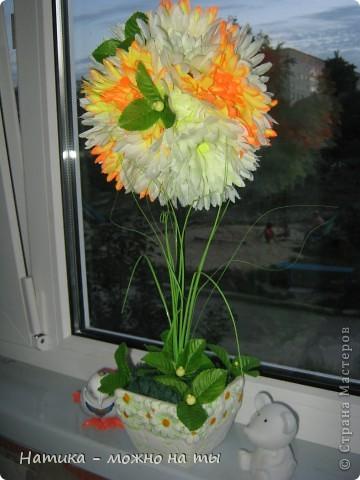 Мой первый топиарий из искусственных цветов)))  Помоему, получился))) фото 2