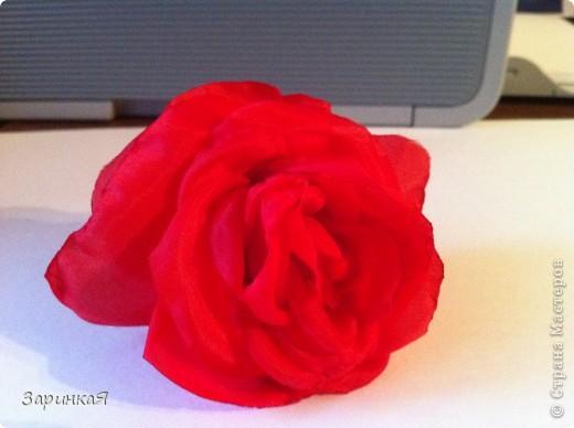 Роза- заколка  из ткани фото 1