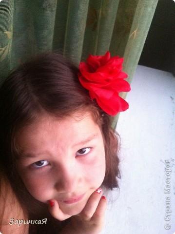 Роза- заколка  из ткани фото 3