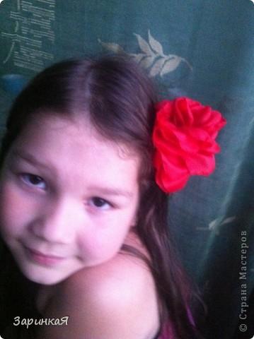 Роза- заколка  из ткани фото 4