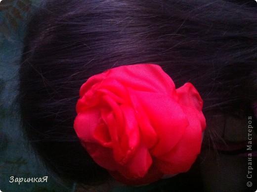 Роза- заколка  из ткани фото 2