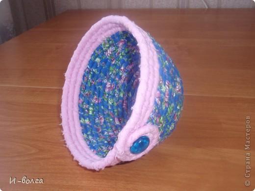 Корзиночка-малявочка  Шнур и полоски ткани. июль 2012  фото 2