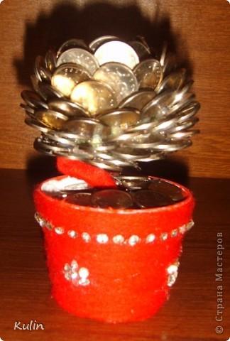 Цветок-лилипут из монет ,высота 12 см фото 1