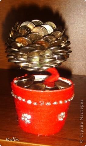 Цветок-лилипут из монет ,высота 12 см фото 2