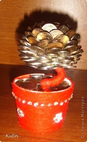 Цветок-лилипут из монет ,высота 12 см фото 3