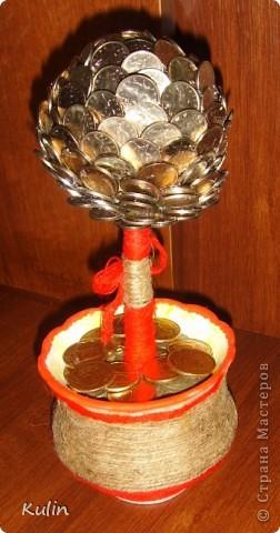 Цветок-лилипут из монет ,высота 12 см фото 11