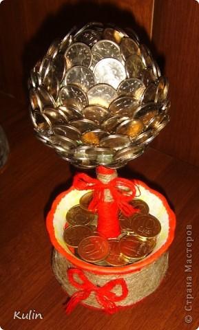 Цветок-лилипут из монет ,высота 12 см фото 12
