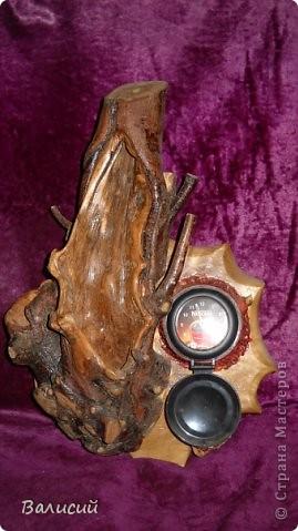 Ночник, или украшение стола. Очень красивые блики создаются и на стенах, и на потолке.   Шар сделан из древесной пыли и клея ПВА. фото 9