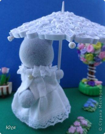 Зонтик в технике Квиллинга и платье для медведицы. фото 17