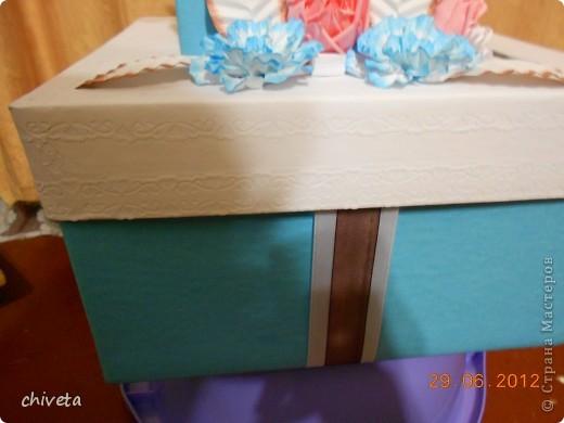 Попросили сделать коробку для денежных подарков в таких тонах.И вот что получилось.Вид сверху. фото 7