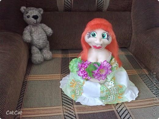 Вот такая мадемуазель у меня  родилась. Кукла - ароматизатор.  фото 1