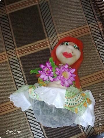 Вот такая мадемуазель у меня  родилась. Кукла - ароматизатор.  фото 2