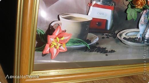 Здравствуйте жители и гости Страны Мастеров. Давно у меня уже соседка просила картину себе на кухню, вот она и готова, надеюсь угожу))) Любит она очень кофе.  Рамку углубила, после фотосессии спрячу под стекло. Размер работы 21х30. фото 6