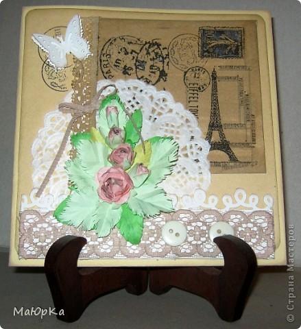 Попалась на глаза вот такая салфетка с 4-мя мотивами... (Это внутренняя часть открытки). Первая открытка-с розой. фото 2