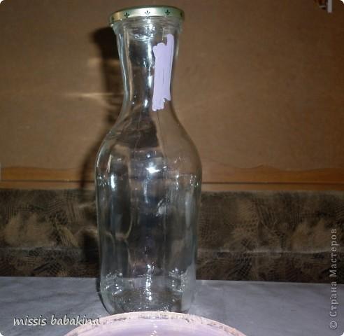 """Привет """"Страна"""". Я с очередной бутылкой, только это заказ знакомой. Переделывала два раза, то салфетка не хотела разглаживаться. то кракелюр на ПВА подвел. фото 2"""
