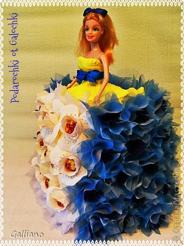 Здравствуйте уважаемые жители СМ!!! Сделала еще одну сладкую куколку. Хочу выразить большую благодарность за МК василька  Елена - laskovoe_solnyshko, именно по нему я делала цветочки, http://stranamasterov.ru/node/377677?c=favorite .   фото 2