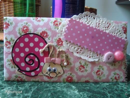 конвертик для девчушки)))Конверты делала из бумаги и салфеток фото 1