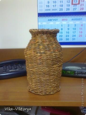Доброго всем времени суток!  Принравилась мне форма кофейной баночки и решила из неё сделать вазочку.  Вот что у меня получилось. фото 1