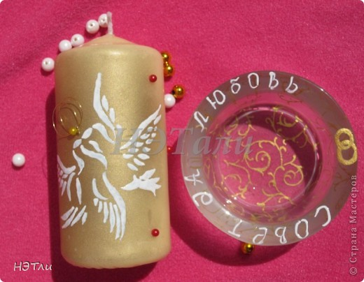 От заказчиков поступило четыре пожелания: голуби, кольца, дата свадьбы и золотой ободок на бокалах... фото 7