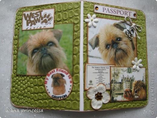"""обложка на паспорт""""собачки-брюссельский грифон"""" фото 2"""