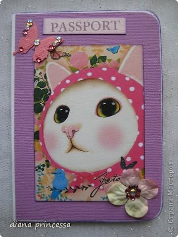 """обложка на паспорт""""Кошечки"""" фото 2"""