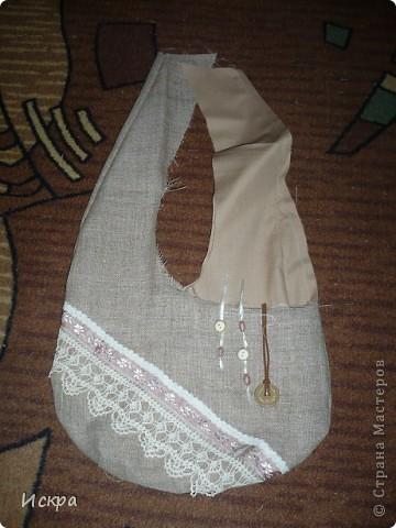 сумка за вечер (из остатков мешковины и сорочечной ткани) фото 4