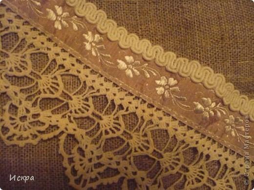 сумка за вечер (из остатков мешковины и сорочечной ткани) фото 6