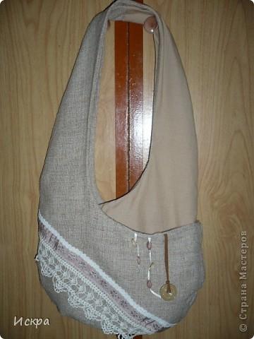 сумка за вечер (из остатков мешковины и сорочечной ткани) фото 1