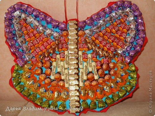 Бабочка. Общим весом более 2500 грамм. 187 конфет. Первый опыт. фото 3