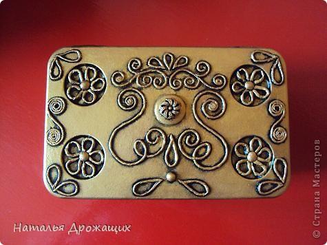 Декор предметов Аппликация из скрученных жгутиков Шкатулка фото 3
